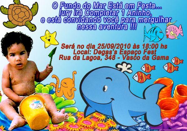 Convite Fundo Do Mar Foto Artes Digitais